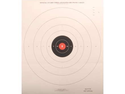 NRA Official Pistol Target B-8(P) RC Red Center 25 Yard Timed and Rapid Fire Paper Package of 100