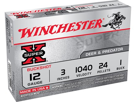 "Winchester Super-X Magnum Ammunition 12 Gauge 3"" Buffered #1 Buckshot 24 Pellets Box of 5"