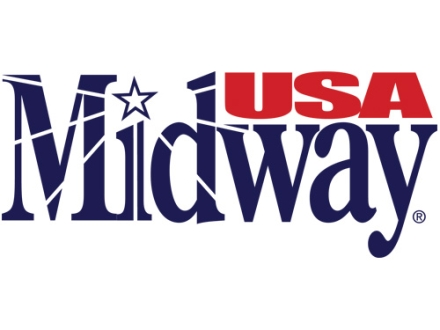"MidwayUSA Logo Decal Small (4-1/4"" x 1-7/8"") Vinyl Blue/Red"