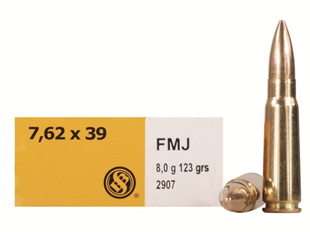 Sellier & Bellot Ammunition 7.62x39mm 123 Grain Full Metal Jacket Box of 20