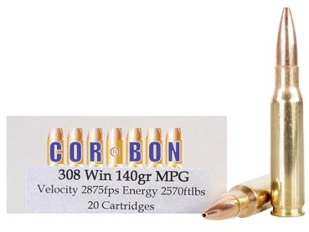 Cor-Bon Ammunition 308 Winchester 140 Grain Barnes Multi-Purpose Green (MPG) Hollow Point Lead-Free Box of 20