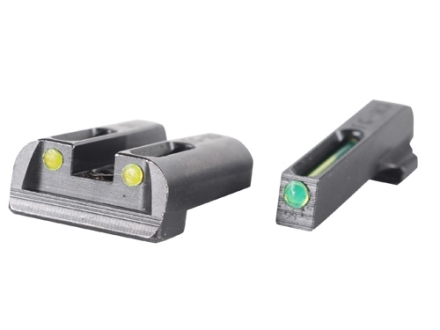 TRUGLO TFO Sight Set Sig Sauer #6 Front #8 Rear Steel Tritium / Fiber Optic Green Front,  Yellow Rear