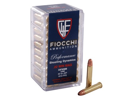 Fiocchi Ammunition 22 Winchester Magnum Rimfire (WMR) 40 Grain Jacketed Hollow Point
