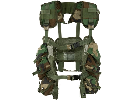 Military Surplus Load Bearing Vest (LBV) Holds 4 AR-15 30 Round Magazines and 2 Grenades Nylon Woodland Camouflage