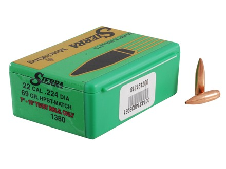 Sierra MatchKing Bullets 22 Caliber (224 Diameter) 69 Grain Hollow Point Boat Tail