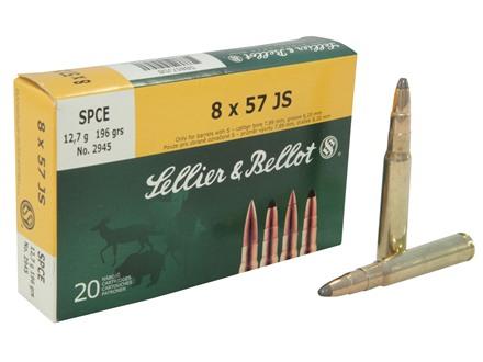 Sellier & Bellot Ammunition 8x57mm JS Mauser (8mm Mauser) 196 Grain Soft Point Cutted Edge Box of 20