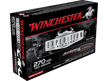 Winchester Ammunition 270 Winchester 140 Grain Nosler AccuBond Box of 20