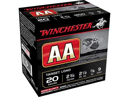 "Winchester AA Target Ammunition 20 Gauge 2-3/4"" 7/8 oz of #9 Shot"