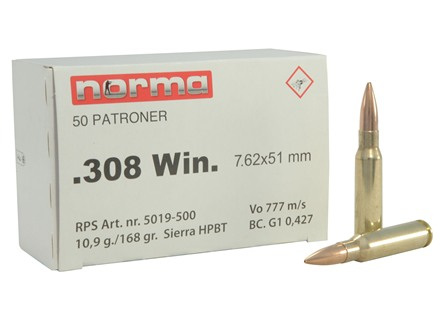 Norma Military Production Ammunition 308 Winchester 168 Grain Sierra MatchKing Hollow Point Boat Tail Box of 50