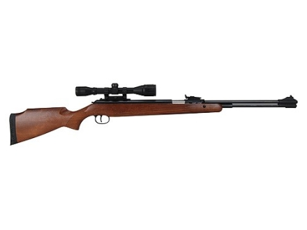 RWS 460 Magnum Air Rifle 22 Caliber Pellet Wood Stock Blue Barrel with RWS Airgun Scope 4x 32mm Matte