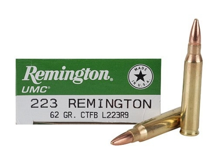 Remington UMC Ammunition 223 Remington 62 Grain Closed Tip Flat Base Box of 20