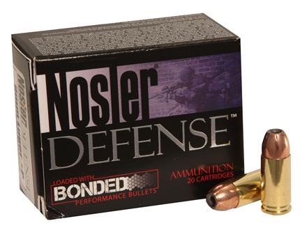 Nosler Defense Ammunition 9mm Luger +P 124 Grain Bonded Jacketed Hollow Point Box of 20