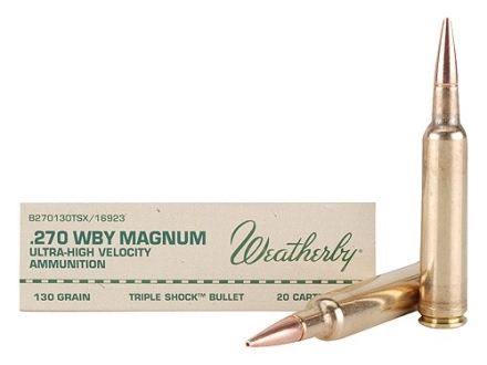 Weatherby Ammunition 270 Weatherby Magnum 130 Grain Barnes Triple-Shock X Bullet Hollow Point Lead-Free Box of 20