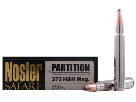 Nosler Safari Ammunition 375 H&H Magnum 300 Grain Partition Box of 20