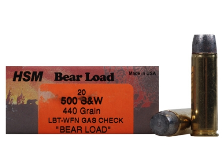 HSM Bear Ammunition 500 S&W Magnum 440 Grain Wide Flat Nose Gas Check Box of 20