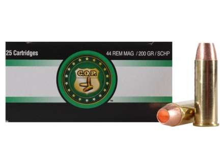 Copper Only Projectiles (C.O.P.) Ammunition 44 Remington Magnum 200 Grain Solid Copper Hollow Point Box of 25