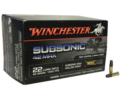 Winchester 42 Max Ammunition 22 Long Rifle 42 Grain Lead Hollow Point Subsonic Box of 500 (10 Boxes of 50)