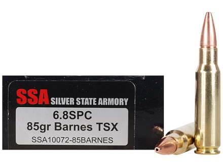 Silver State Armory Ammunition 6.8mm Remington SPC 85 Grain Barnes Triple-Shock X Bullet Hollow Point Lead-Free