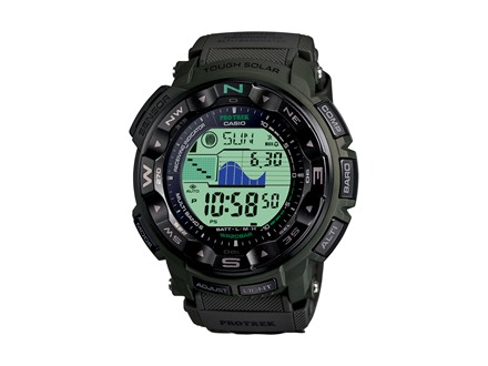 Casio Pro Trek Atomic Triple Sensor Solar Watch Cloth Band Camo Green