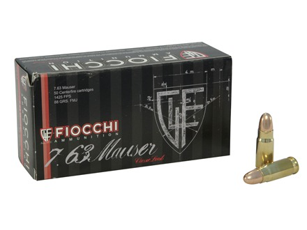 Fiocchi Ammunition 30 Mauser (7.63mm) 88 Grain Full Metal Jacket Box of 50