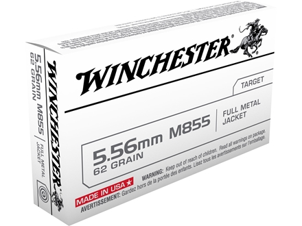 Winchester Ammunition 5.56x45mm NATO 62 Grain M855 SS109 Penetrator Full Metal Jacket Case of 1000 (50 Boxes of 20)