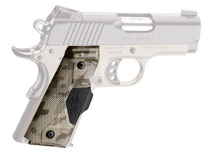 Crimson Trace Lasergrips 1911 Officer Front Activation Polymer Brown Digital Camo with Kimber Logo