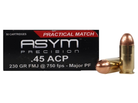 ASYM Precision Practical Match Ammunition 45 ACP 230 Grain Full Metal Jacket Box of 50
