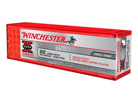Winchester Super-X High Velocity Ammunition 22 Long Rifle 40 Grain Lead Hollow Point Power-Point Box of 500 (10 Boxes of 50)
