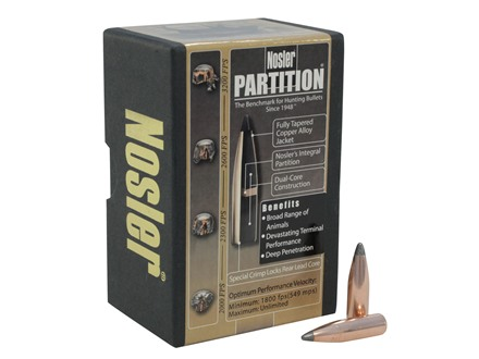 Nosler Partition Bullets 270 Caliber (277 Diameter) 130 Grain Spitzer Box of 50