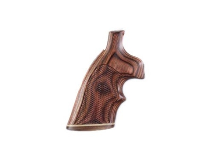 Hogue Fancy Hardwood Grips with Accent Stripe and Top Finger Groove S&W K, L-Frame Square Butt Checkered Rosewood Laminate