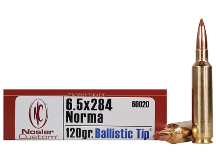 Nosler Trophy Grade Ammunition 6.5mm-284 Norma 120 Grain Ballistic Tip Hunting Box of 20