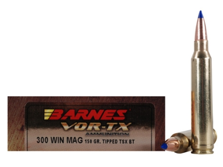 Barnes VOR-TX Ammunition 300 Winchester Magnum 150 Grain Tipped Triple-Shock X Bullet Boat Tail Lead-Free Box of 20