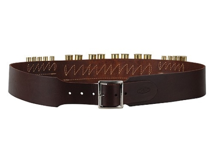 "Hunter Cartridge Belt Combo 2-1/2"" 45 Caliber 10 Loops and 12 Gauge 8 Loops Leather Antique Brown Medium"