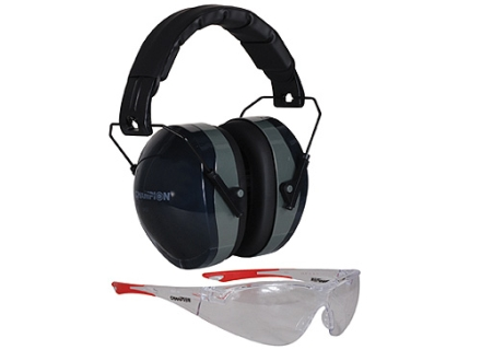 Champion Eyes and Ears Range Safety Kit Combo-Passive Muffs Ballistic Glasses (NRR 26dB) Black Muff Wrap Around Eye Protection