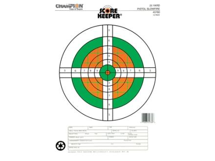 "Champion Score Keeper  25 Yard Slow Fire Pistol Target 11"" x 16"" Paper Fluorescent Orange/Green Bull Package of 12"
