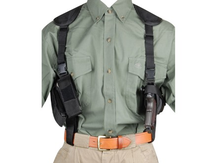 Bulldog Pro Series Deluxe Shoulder Holster System Beretta 92, Browning Hi-Power, 1911 Government, Glock 34, 35, Springfield XD Nylon Black