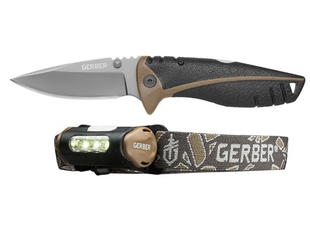 "Gerber Myth Pocket Folder Knife Combo 3"" Stainless Steel Drop Point Blade Rubber Handle and Myth Hands Free Headlamp"