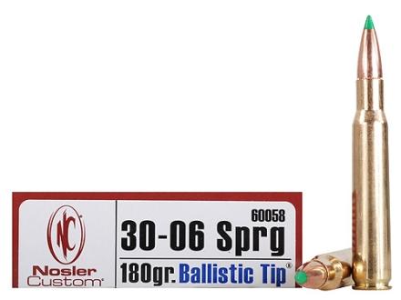 Nosler Trophy Grade Ammunition 30-06 Springfield 180 Grain Ballistic Tip Hunting Box of 20