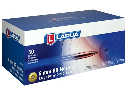 Lapua Scenar Ammunition 6mm Norma BR (Bench Rest) 105 Grain Hollow Point Boat Tail Box of 50