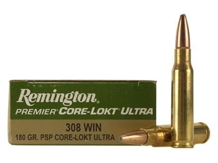 Remington Premier Ammunition 308 Winchester 180 Grain Core-Lokt Ultra Bonded Pointed Soft Point Box of 20