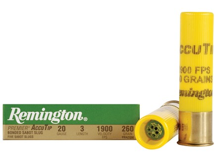 "Remington Premier Ammunition 20 Gauge 3"" 260 Grain AccuTip Bonded Sabot Slug with Power Port Tip Box of 5"