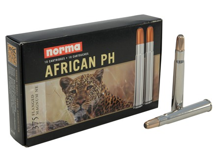 Norma African PH Ammunition 375 Flanged Magnum 300 Grain Woodleigh Weldcore Soft Point Box of 10