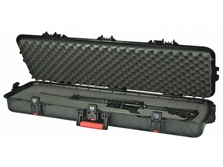 "Plano AW All Weather Series 42"" Tactical Rifle Gun Case Polymer Black with Red Handles"