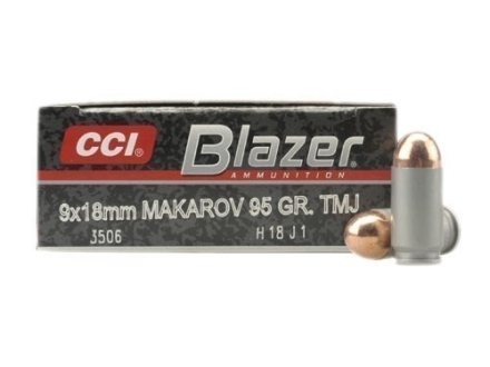 CCI Blazer Ammunition 9x18mm (9mm Makarov) 95 Grain Total Metal Jacket Box of 50