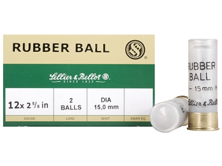 "Sellier & Bellot Ammunition 12 Gauge 2-5/8"" 15mm Double Rubber Balls Box of 25"
