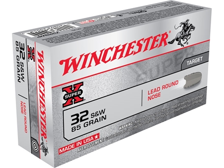 Winchester Super-X Ammunition 32 S&W 85 Grain Lead Round Nose Box of 50