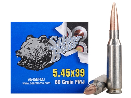 Silver Bear Ammunition 5.45x39mm Russian 60 Grain Full Metal Jacket (Bi-Metal) Box of 30