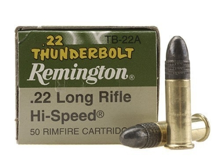 Remington Thunderbolt Ammunition 22 Long Rifle 40 Grain Lead Round Nose Box of 500 (10 Boxes of 50)