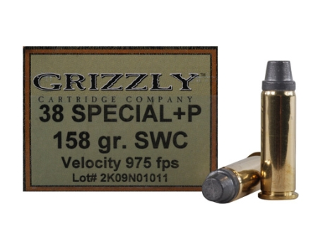 Grizzly Ammunition 38 Special +P 158 Grain Semi-Wadcutter Box of 20