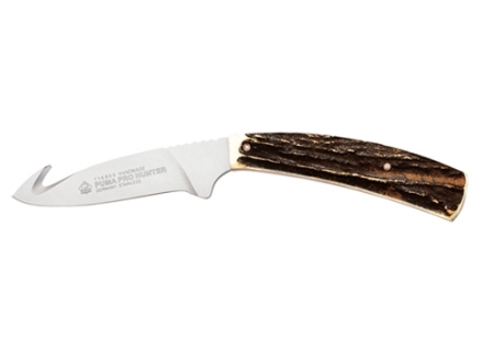 """Puma Classic Series Pro Hunter Fixed Blade Knife 3.7"""" Drop Point w/Gut Hook German 440A Stainless Steel Blade Stag Handle"""